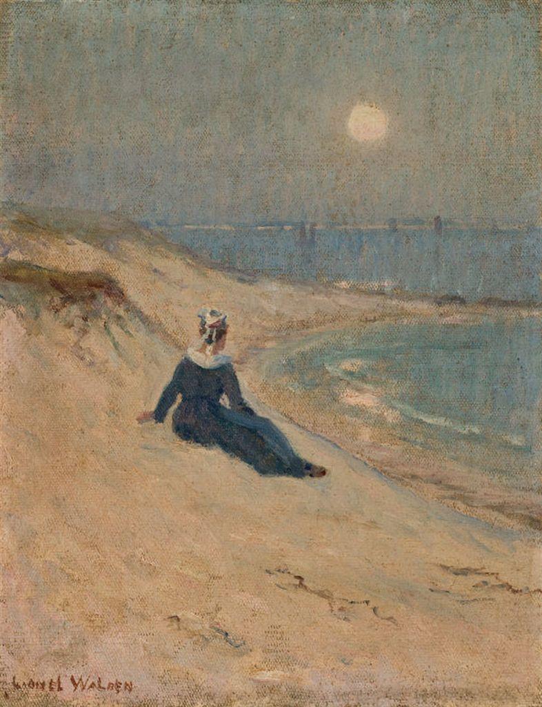 Lionel Walden 1861 1933 Femme Au Bord De La Mer Et