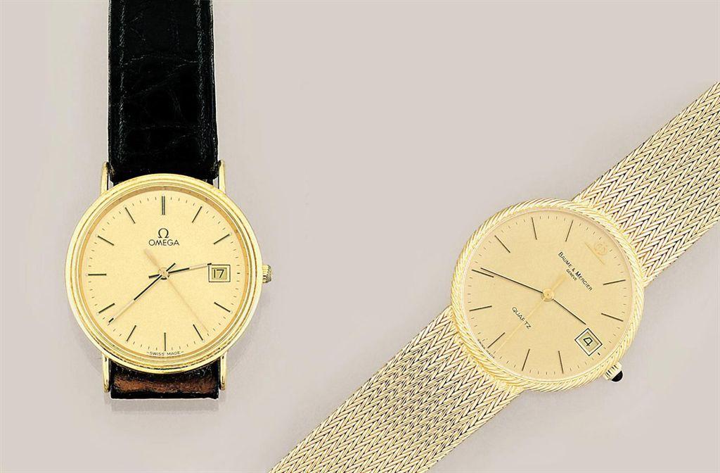 Two 18ct gold quartz wristwatches