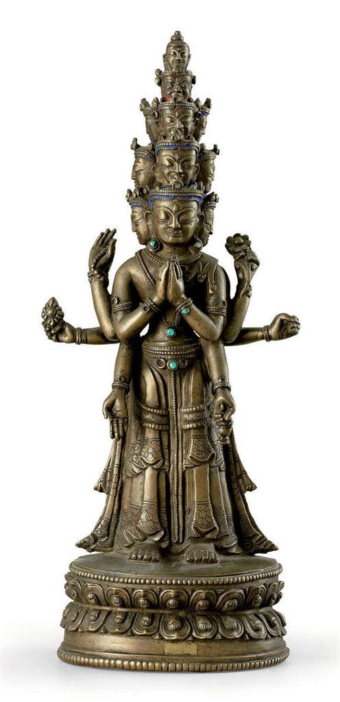 A bronze figure of Avalokiteshvara
