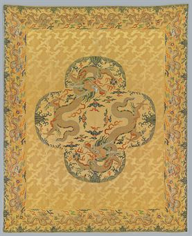 a rare large imperial yellow-ground silk brocade panel