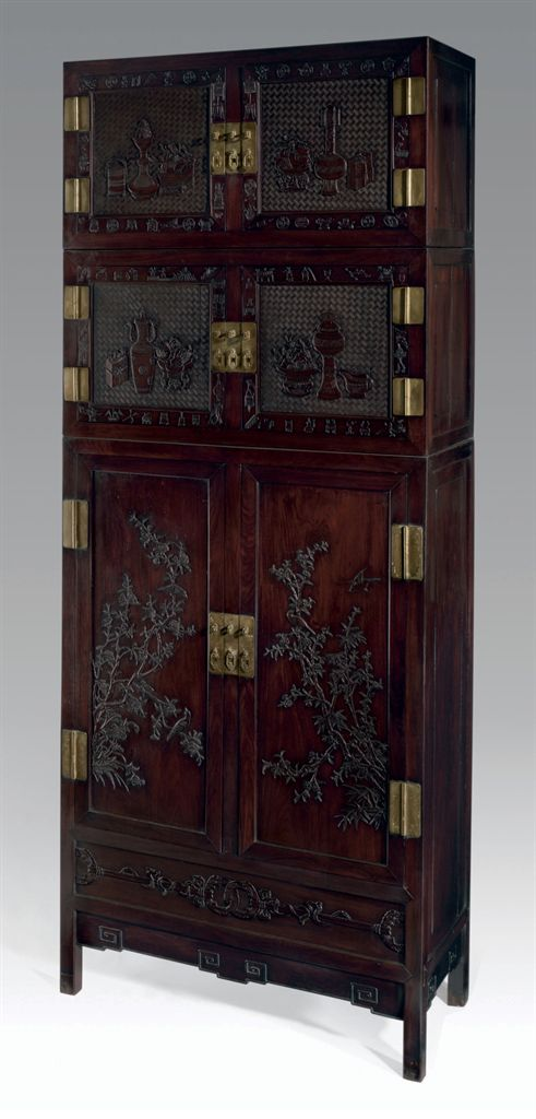 A MASSIVE HONGMU COMPOUND CABINET AND TWO HATCHESTS, SIJIANG...
