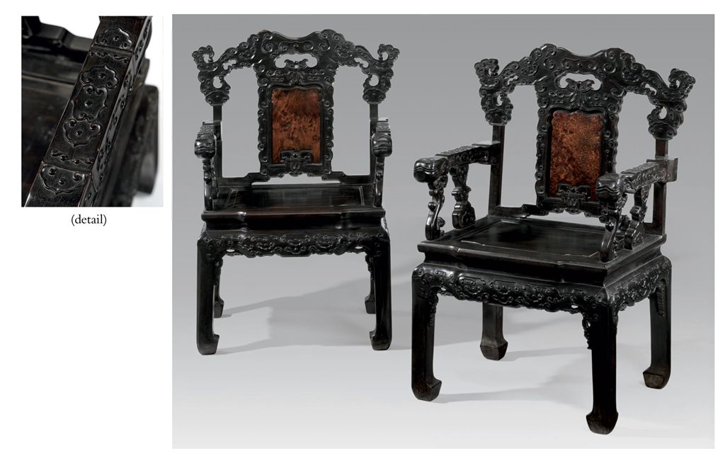 A PAIR OF RARE LARGE ZITAN AND HUAMU ARMCHAIRS