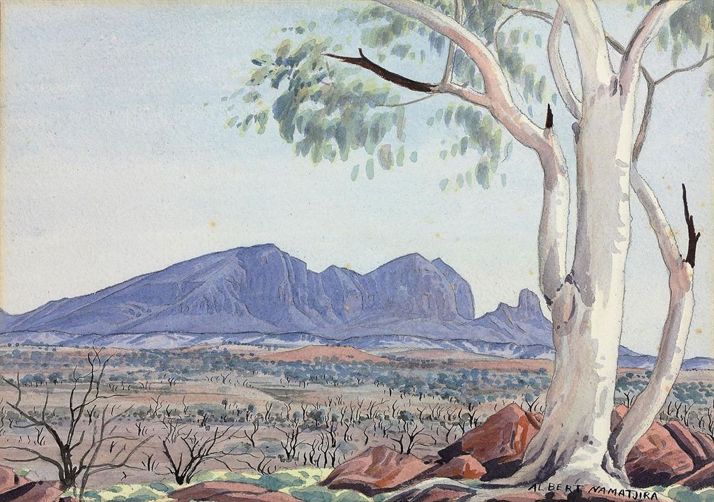 Albert namatjira 1902 1959 ghost gum macdonnell for Prints of famous paintings for sale