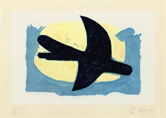 georges braque 1882 1963 oiseau bleu et jaune vallier 147 prints multiples auction. Black Bedroom Furniture Sets. Home Design Ideas