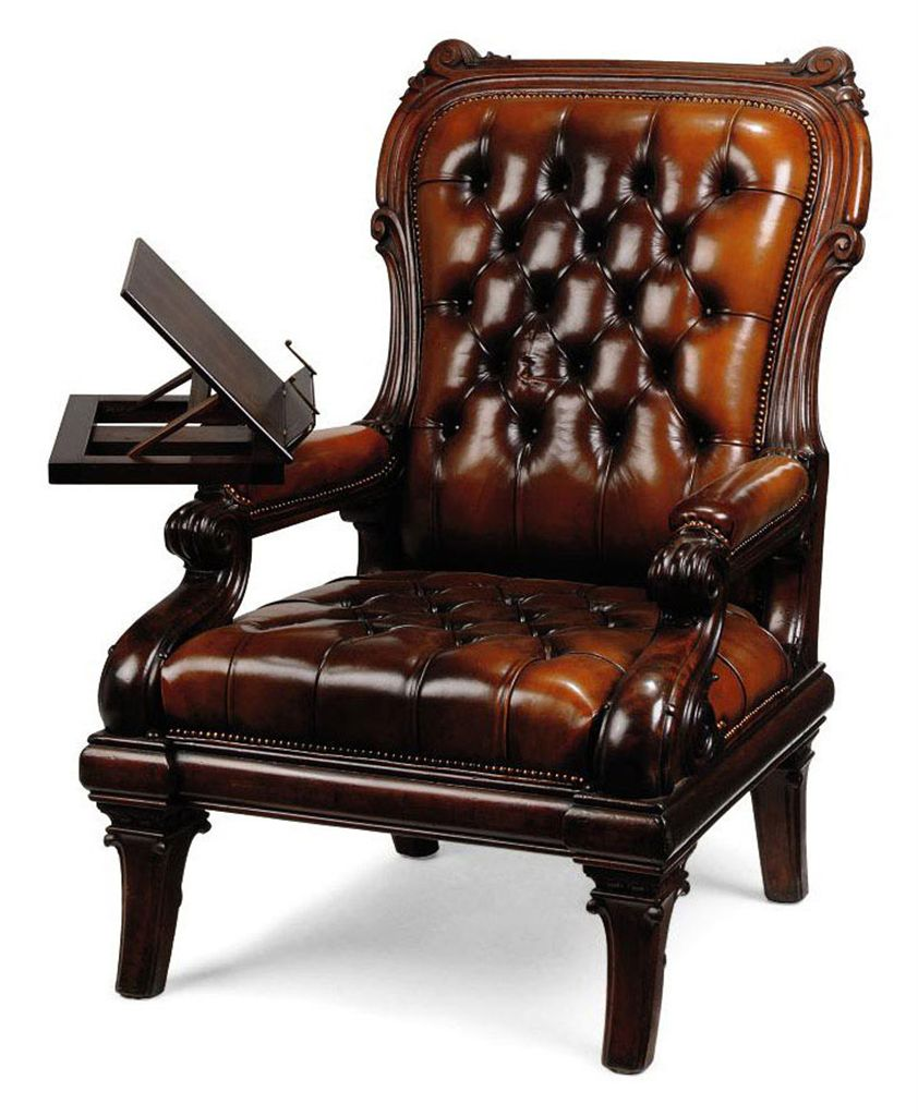 A WILLIAM IV MAHOGANY READING CHAIR CIRCA 1835