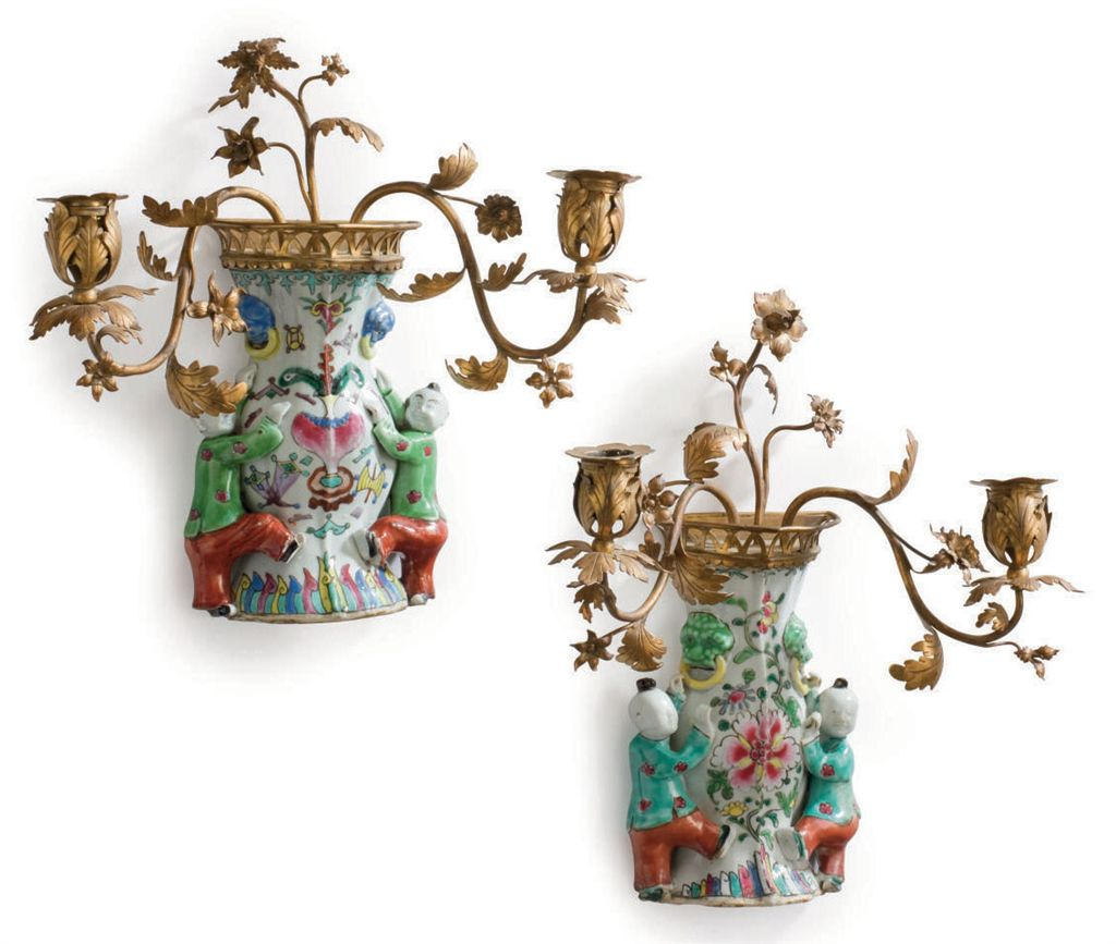 A PAIR OF ORMOLU-MOUNTED CHINESE EXPORT PORCELAIN WALL-VASES...