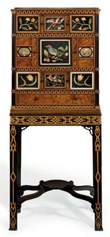 AN EARLY GEORGE III PIETRA DURA-MOUNTED YEW AND EBONIZED CABINET-ON-STAND