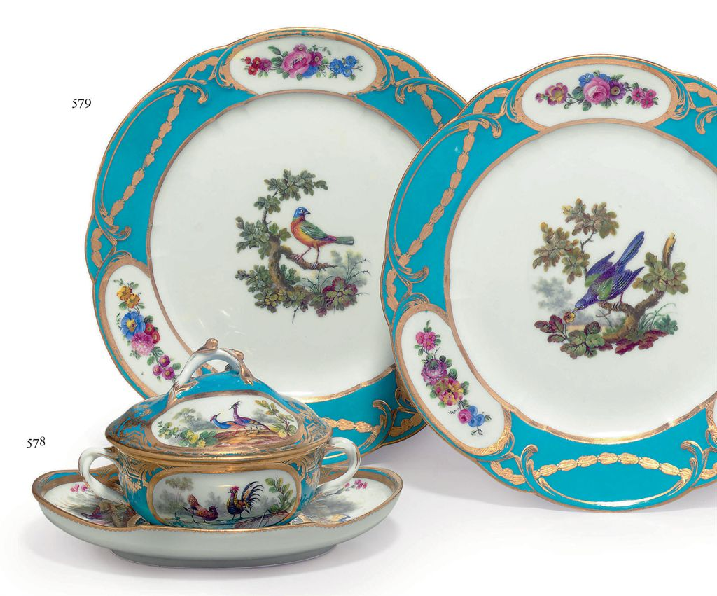 two sevres porcelain bleu celeste ornithological plates from the cheremeteff service assiettes. Black Bedroom Furniture Sets. Home Design Ideas