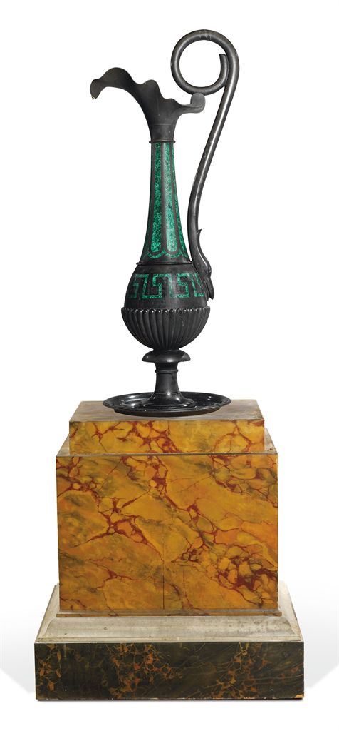 A LARGE EARLY VICTORIAN MALACHITE AND DERBYSHIRE BLACK MARBL...