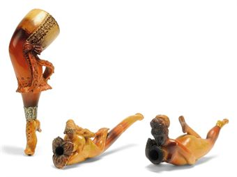 THREE AUSTRIAN MEERSHCAUM EROTIC PIPES OR CHEROOT HOLDERS