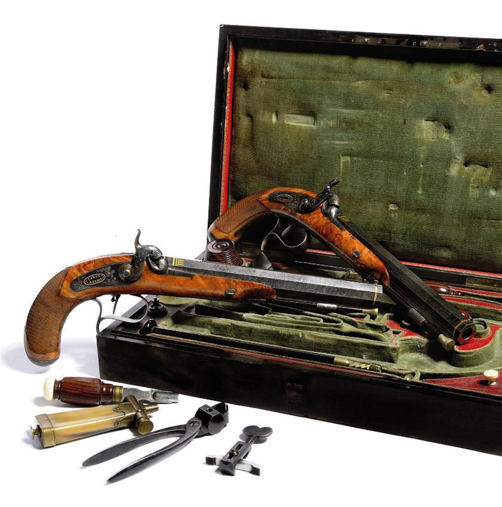 A FINE CASED PAIR OF FRENCH 32-BORE PERCUSSION TARGET PISTOL...