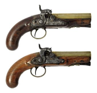 Pistol  32 Bore http://www.christies.com/lotfinder/arms-armor/a-pair-of-32-bore-brass-barrelled-percussion-overcoat-5356526-details.aspx