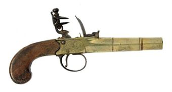 Pistol  32 Bore http://www.christies.com/lotfinder/arms-armor/an-irish-32-bore-brass-flintlock-boxlock-overcoat-5356528-details.aspx