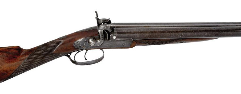 A 13-BORE DOUBLE-BARRELLED PERCUSSION SPORTING GUN