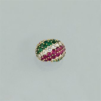 an 18ct gold ruby and emerald ring by