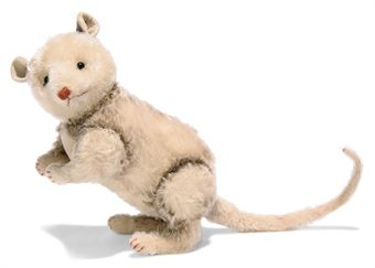 A STEIFF OPOSSUM, (5328), jointed, mohair, black boot button eyes, red stitching, felt ears, inoperative squeaker and tiny FF button, 1909-1914 --11in. (28cm.) high (some fading and minor wear)