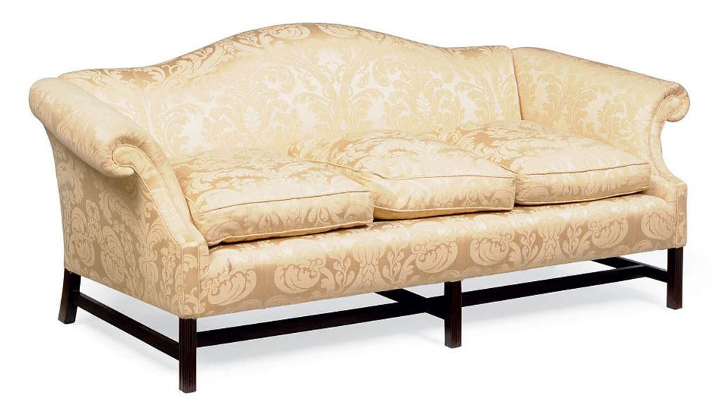 A PAIR OF MAHOGANY HUMP BACK SOFAS BY GEORGE SMITH OF