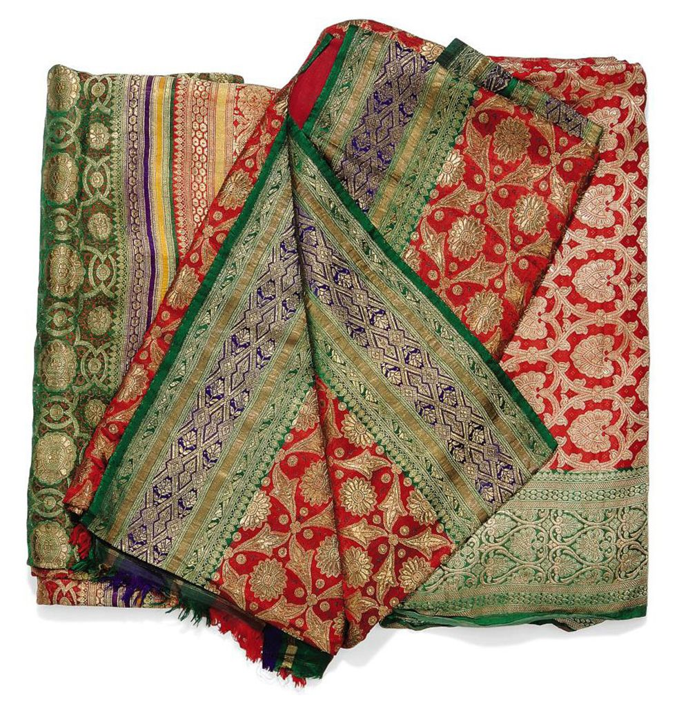 THREE INDIAN SILK BROCADE SARI