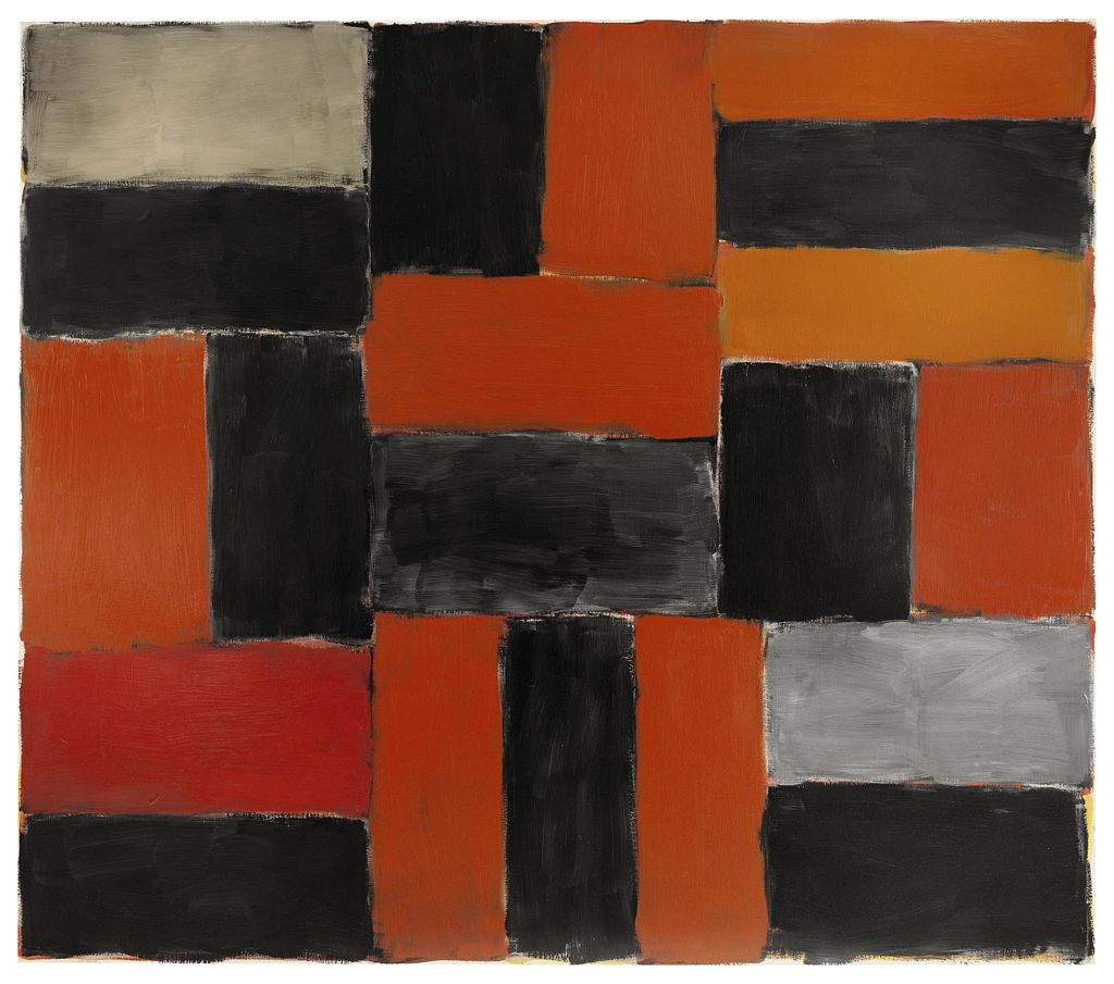 Wall Of Light Orange Yellow : Sean Scully (b. 1945) , Wall of Light-Orange Grey Christie s
