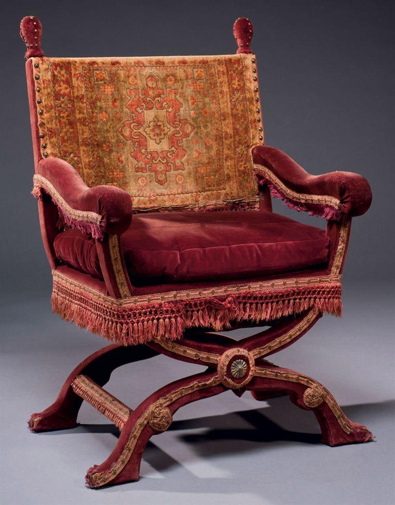 fauteuil curule de style renaissance probablement de la. Black Bedroom Furniture Sets. Home Design Ideas