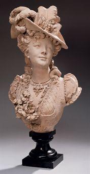 Buste en terre cuite representant une jeune femme au - Chapeau cheminee terre cuite ...