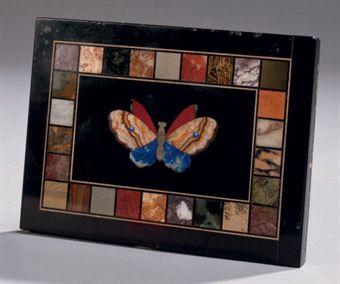petite plaque en pierres dures et marbre noir de flandres. Black Bedroom Furniture Sets. Home Design Ideas