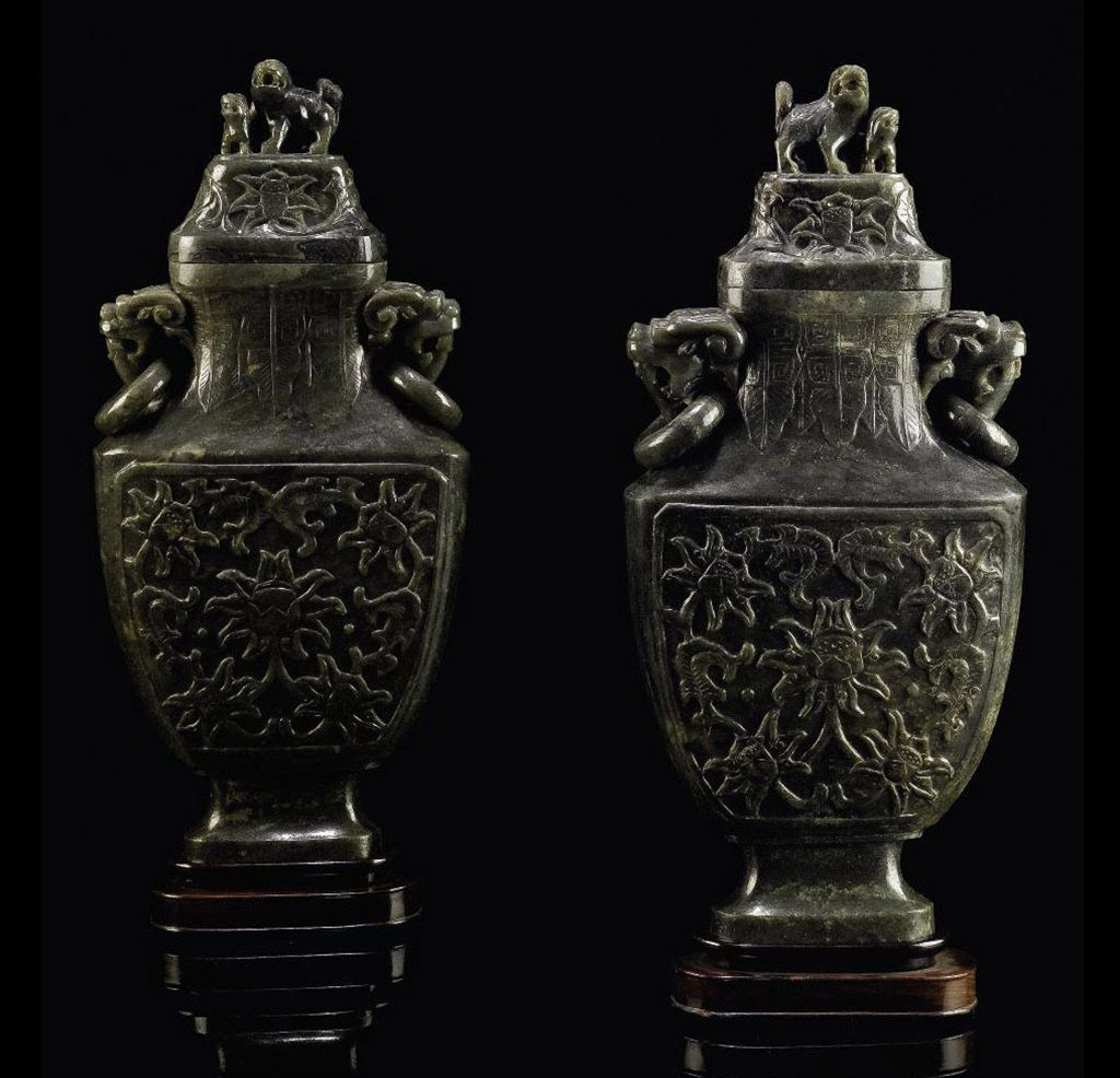 A PAIR OF LARGE SPINACH-GREEN JADE BALUSTER VASES AND COVERS...
