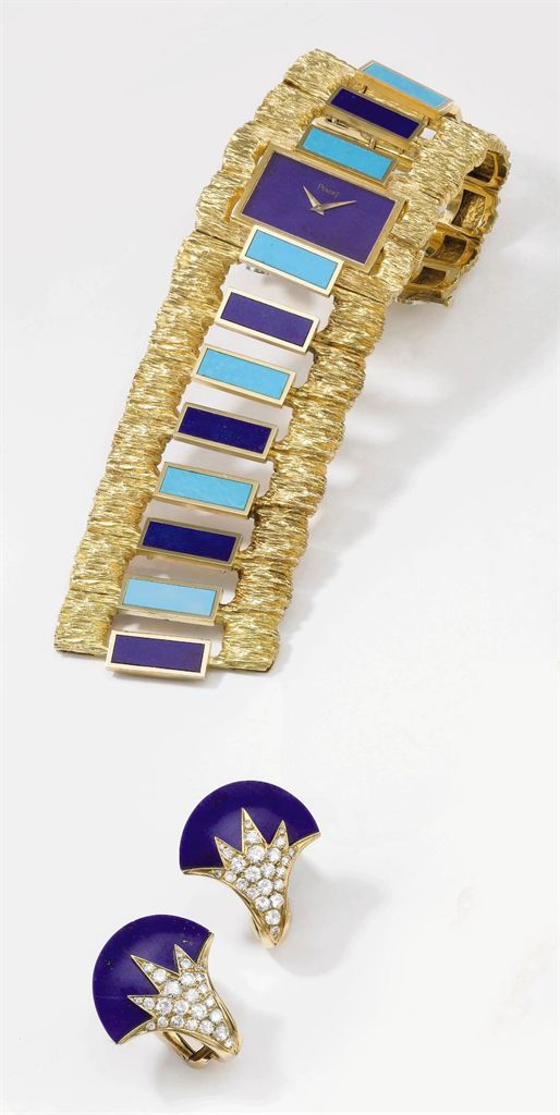 Piaget A highly unusual 18 gold, lapis lazuli and turquoise ...