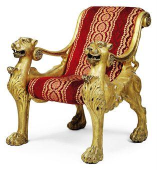 фото львы на кресле