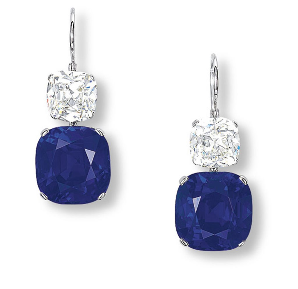 AN IMPORTANT PAIR OF SAPPHIRE AND DIAMOND EAR PENDANTS