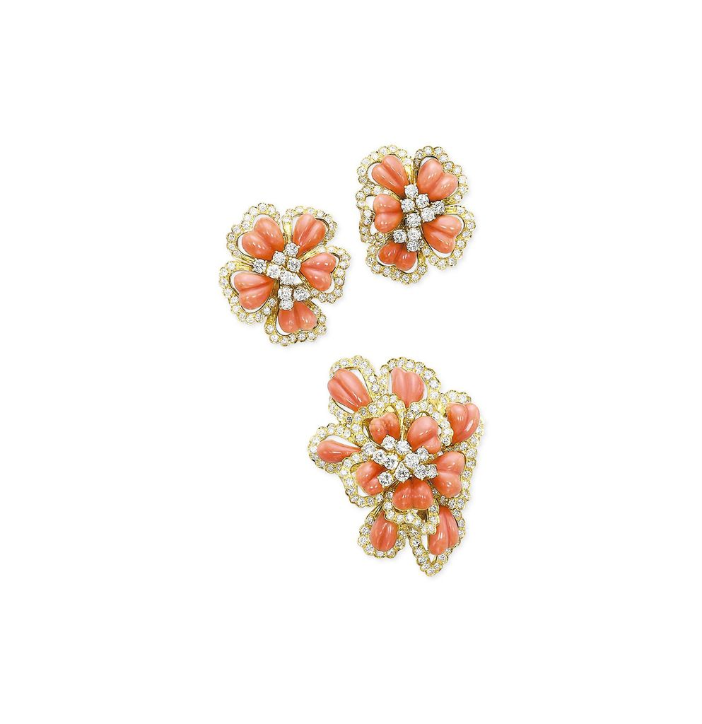 A GROUP OF CORAL AND DIAMOND JEWELLERY