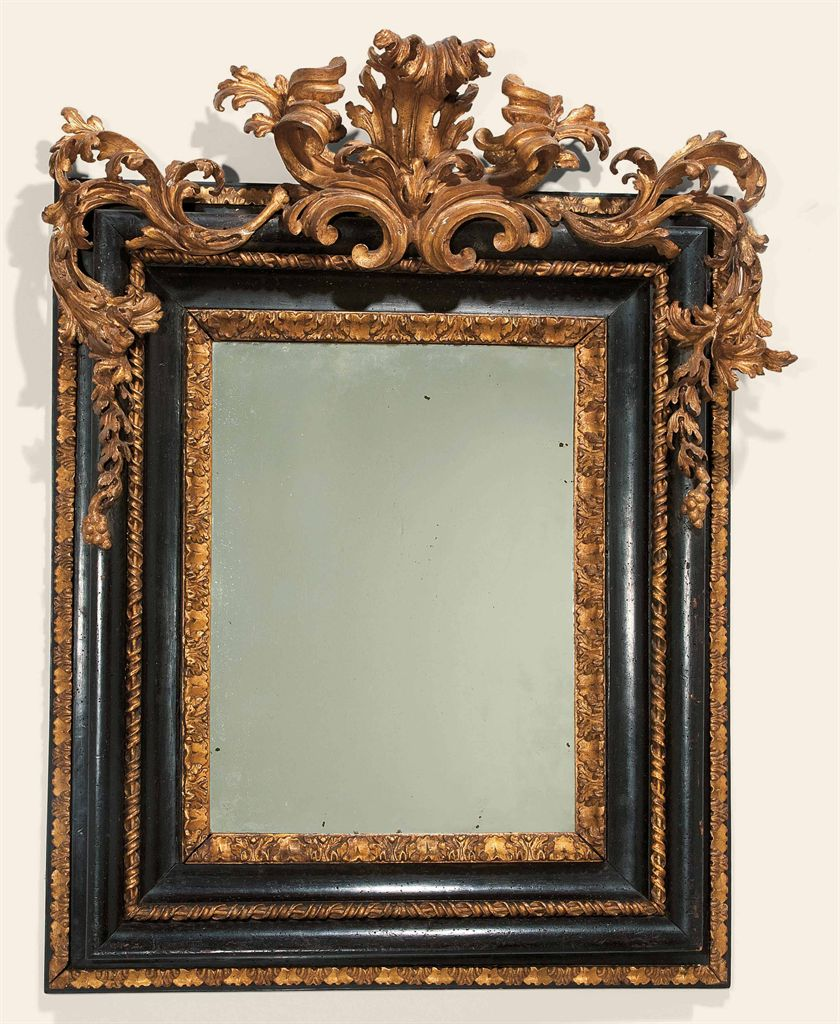 Miroir d 39 epoque baroque probablement italien du debut du for Miroir baroque rectangulaire