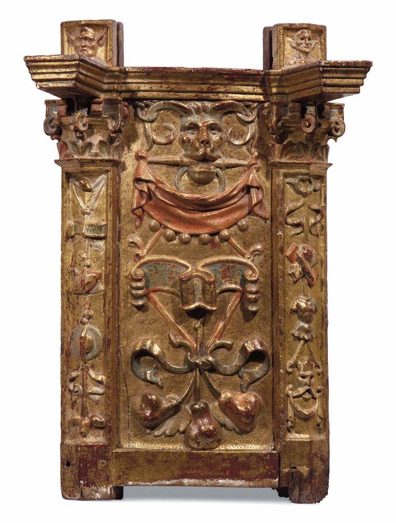 Panneau en bois sculpte peint polychrome et partiellement dore espagne fi - Rosace en bois sculpte ...