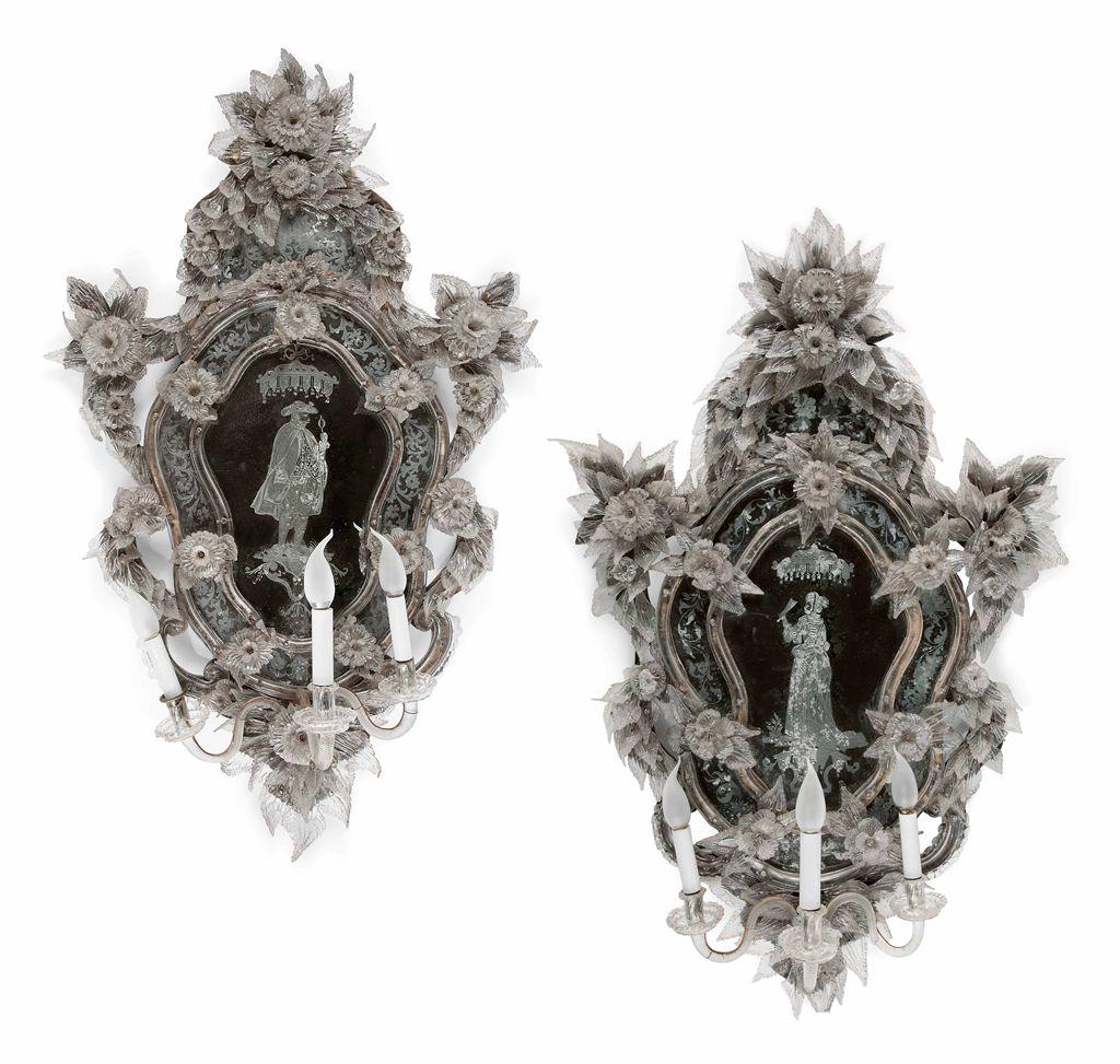 Paire de miroir girandole de style baroque travail for Miroir style baroque