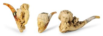 FIVE AUSTRIAN MEERSCHAUM PIPES