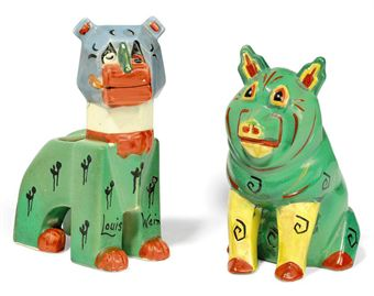 A LOUIS WAIN CERAMIC CAT AND PIG