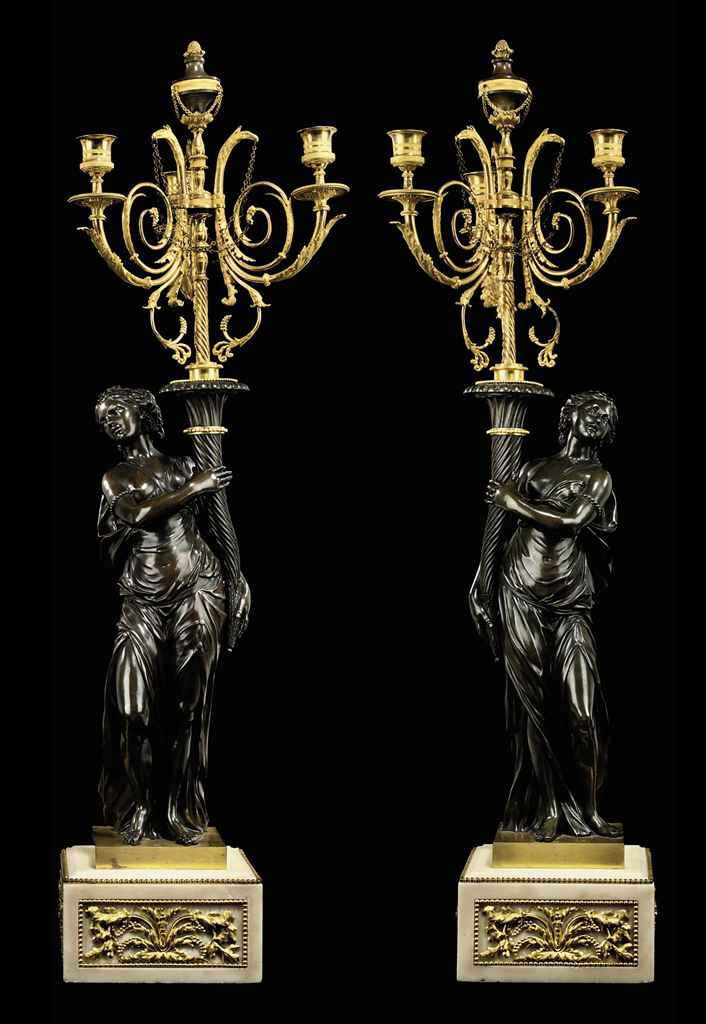 A PAIR OF LOUIS XVI ORMOLU, PATINATED BRONZE AND WHITE MARBL...