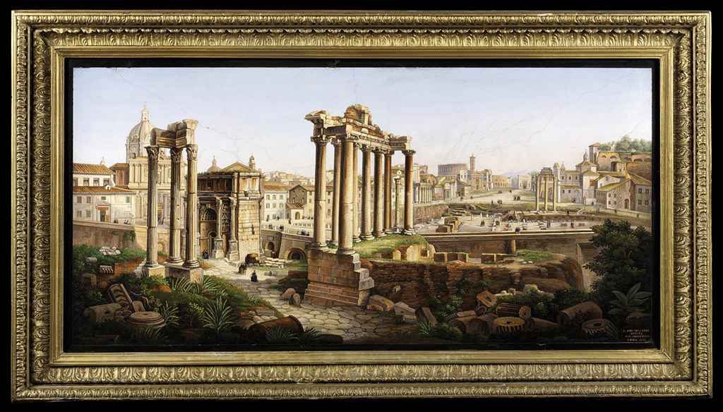 A LARGE FRAMED ITALIAN MICROMOSAIC PICTURE DEPICTING THE ROM...