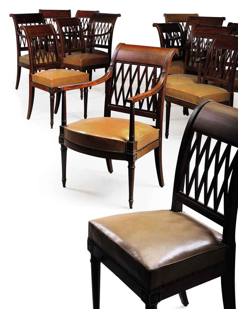 A SET OF FOURTEEN DIRECTOIRE MAHOGANY DINING-CHAIRS