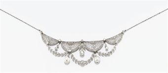 Antica collana tiara in perle e diamanti for Tiara di diamanti