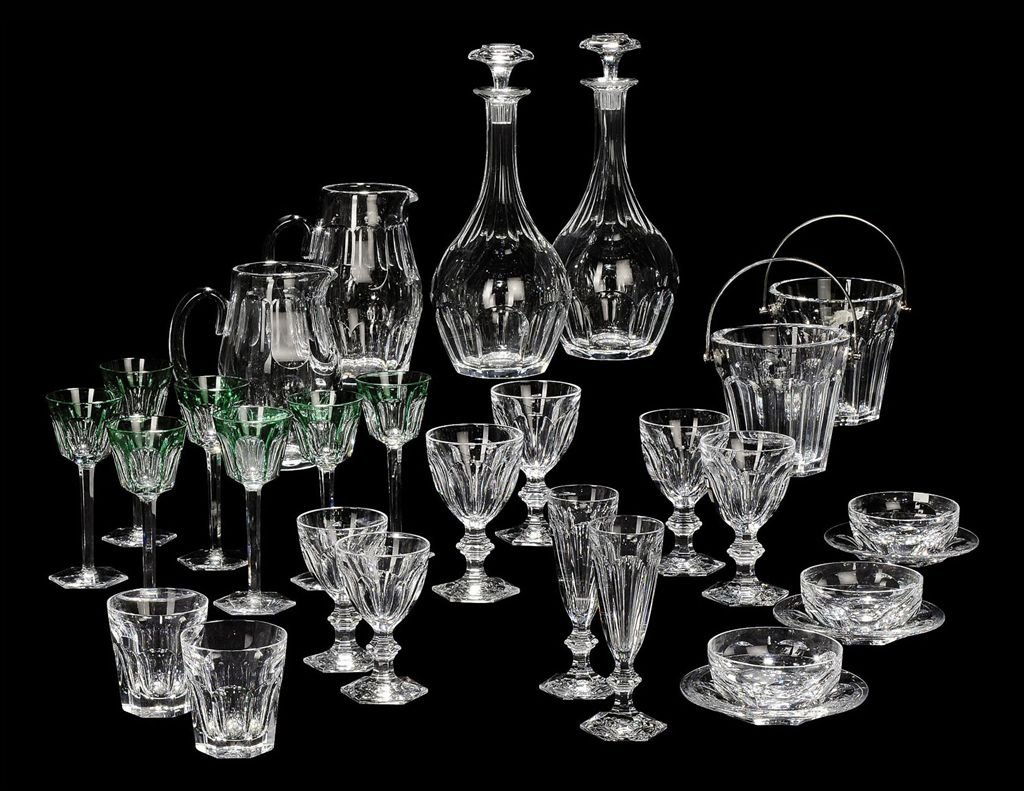 A baccarat 39 harcourt 39 pattern table service 20th century acid etch - Service harcourt baccarat ...