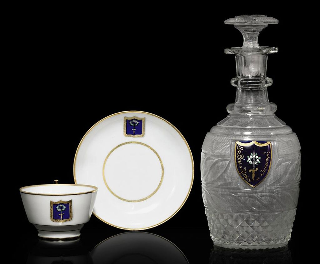 A Cut-Glass Decanter and Porce