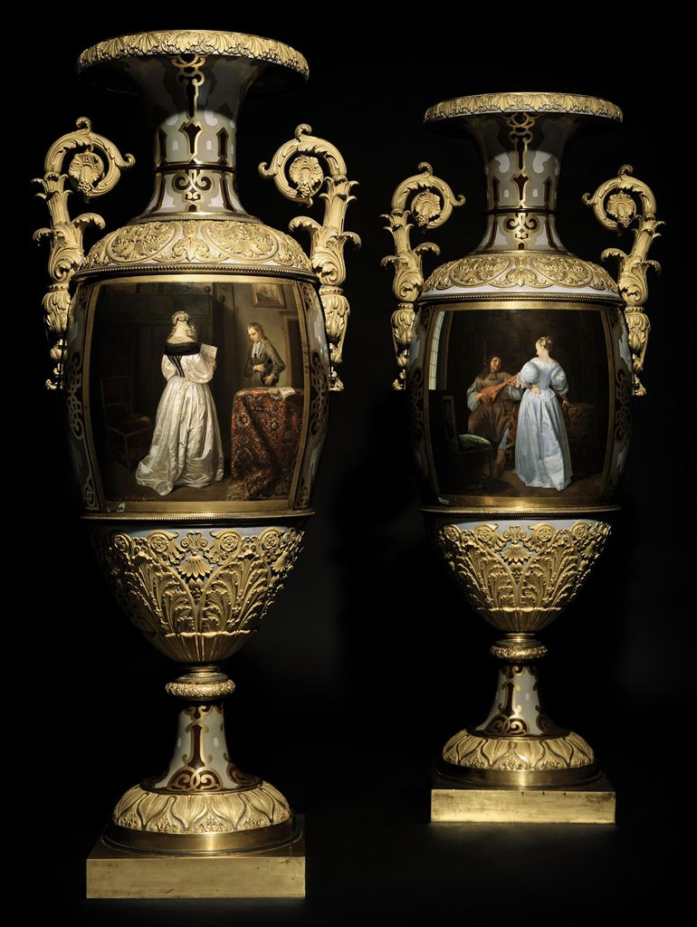 A Pair of Monumental Two-Handled Porcelain Vases