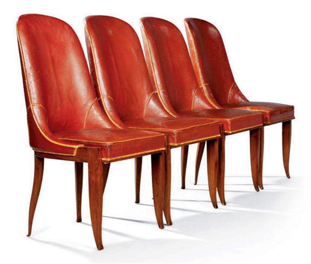 Emile jacques ruhlmann 1879 1933 suite de quatre for Quatre pieds quatre chaises