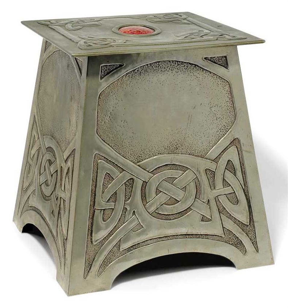 An arts crafts metalwork and enamel coal box and cover for Metal arts and crafts