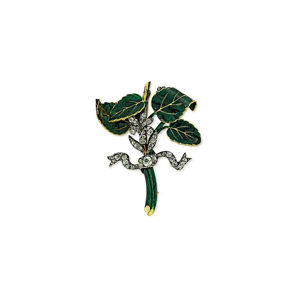AN ANTIQUE DIAMOND AND ENAMEL BROOCH