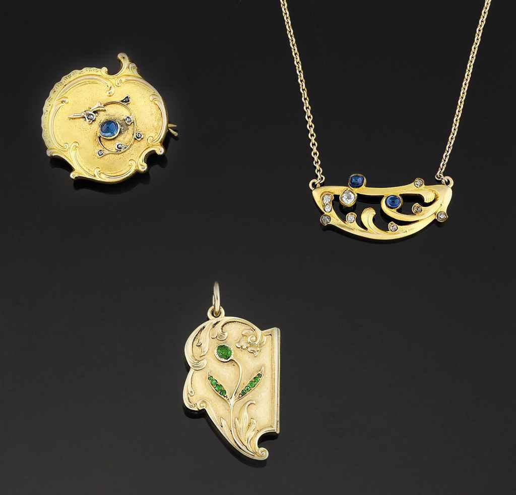 A group of Russian Art Nouveau gold and gem-set jewellery