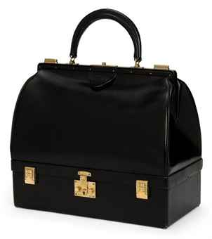 A BLACK BOX LEATHER 'SAC MALLETTE' BAG