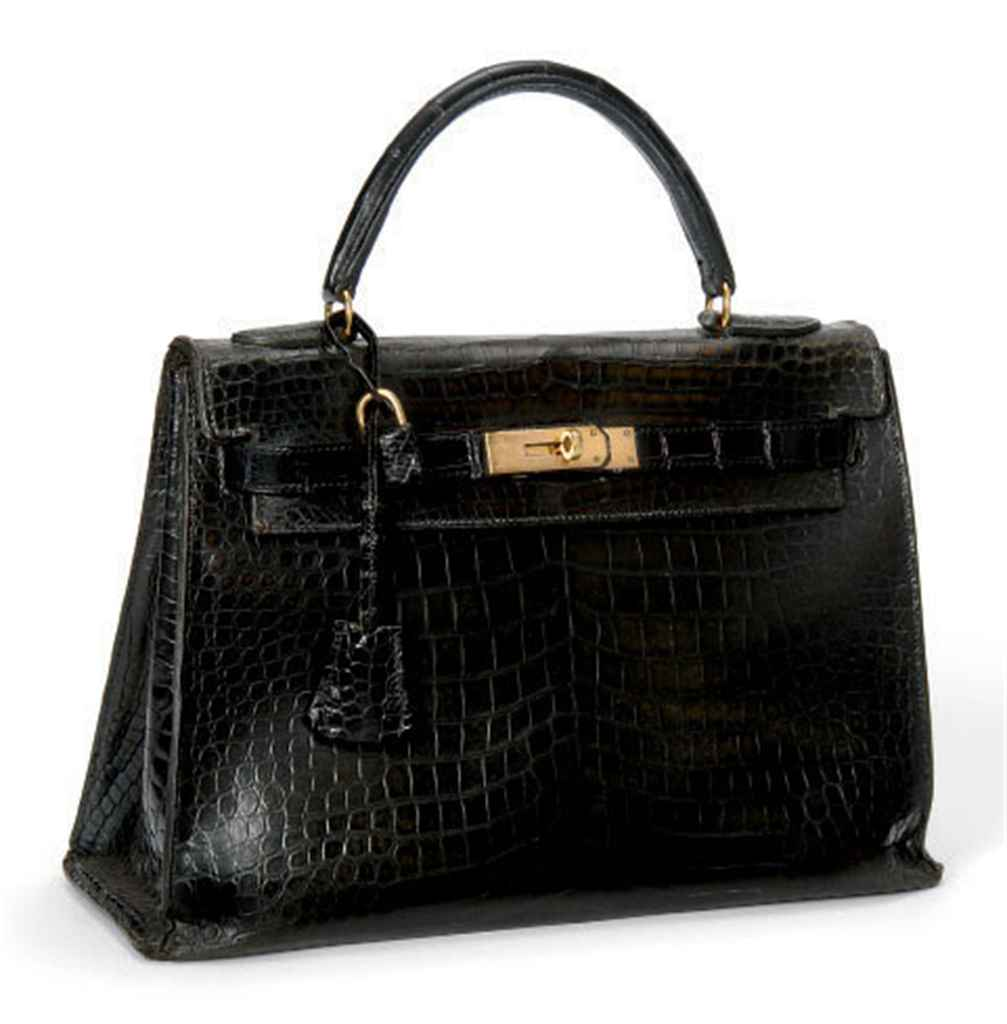 A BLACK CROCODILE 'KELLY' BAG