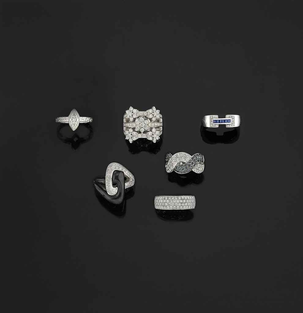 Seven diamond, coloured diamond and gem-set rings